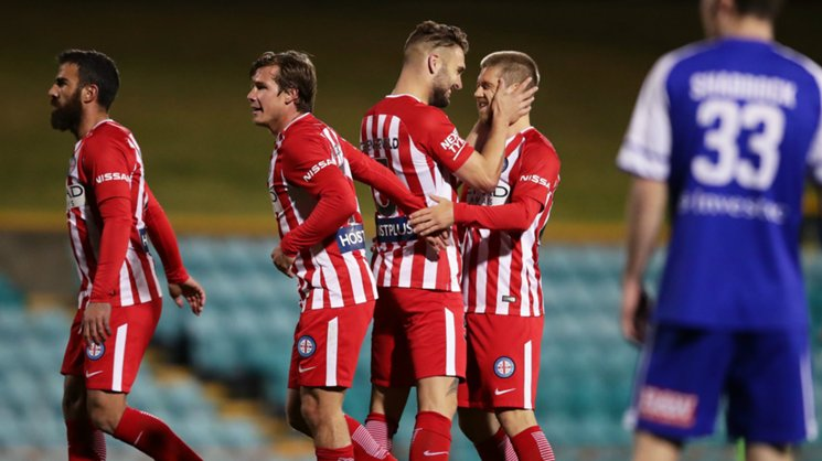 Melbourne City players celebrate a goal in their Round of 16 win over Hakoah.