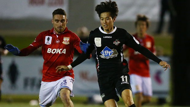 Blacktown City star Danny Choi on the ball against Sydney United.
