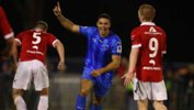Jarrod Kyle celebrates one of his three goals against Western Knights in the Westfield FFA Cup.