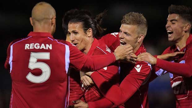 Adelaide United players celebrate Michael Marrone's winning goal against Newcastle Jets.