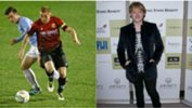 Hume City skipper Nick Hegarty and actor Rupert Grint.