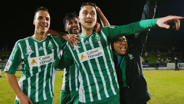 Green Gully striker Liam Boland celebrates his stunning winner against the Mariners.