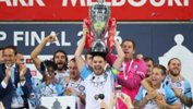 Melbourne City skipper Bruno Fornaroli lifts the Westfield FFA Cup trophy after their triumph in 2016.