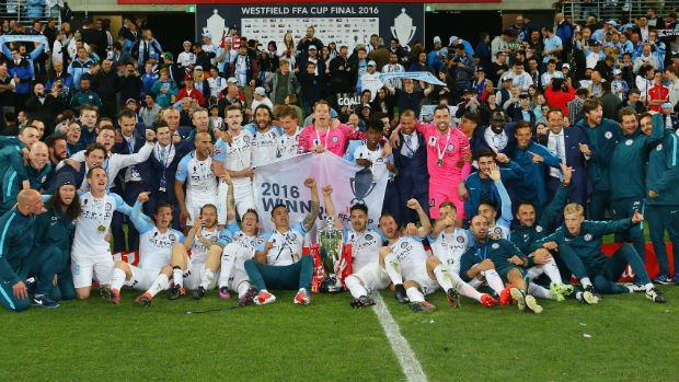 Melbourne City celebrate their Westfield FFA Cup 2016 triumph at AAMI Park.