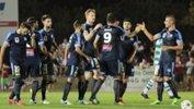 Sydney FC players celebrate a goal in their big Westfield FFA Cup clash against Darwin Rovers.