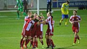 Hume City players celebrate a goal in that epic opening night win over Brisbane Strikers.