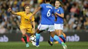 The Westfield Matildas held on for a 3-2 win over Brazil on Tuesday night in Newcastle.