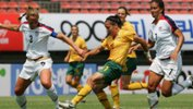 Lisa De Vanna on the ball against USA in 2008.