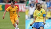 Westfield Matildas co-captain Lisa De Vanna and Brazil superstar Marta.