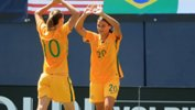 Sam Kerr celebrates a goal during the Westfield Matildas triumph at the Tournament of Nations.