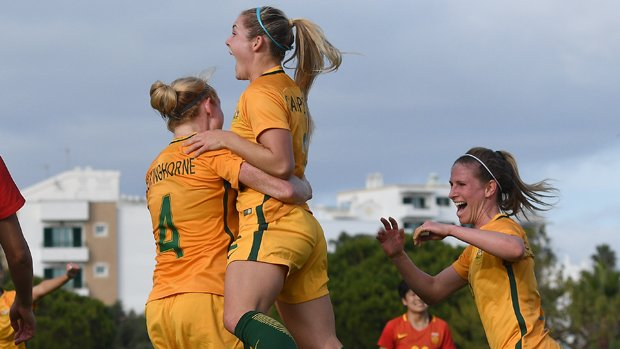 Ellie Carpenter netted her maiden goal for the Matildas in their win over China.