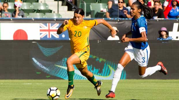 Sam Kerr races clear of the Brazil defence during the Westfield Matildas 6-1 win at the Tournament of Nations.