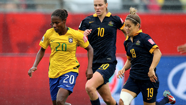 Katrina Gorry in action during Australia's 1-0 win over Brazil at the 2015 World Cup.