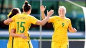 Westfield Matildas star Caitlin Foord celebrates a goal during the Algarve Cup.