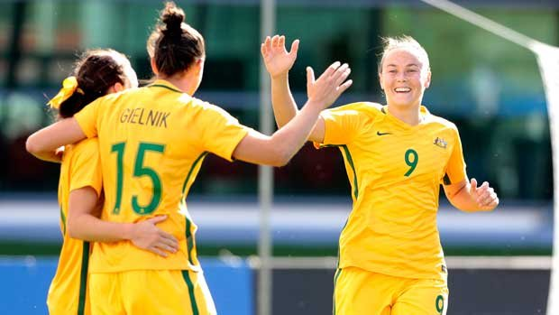 Westfield Matildas star Caitlin Foord celebrates a goal during the Algarve Cup.