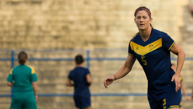 Defender Laura Alleway on the training ground in Sao Paulo.