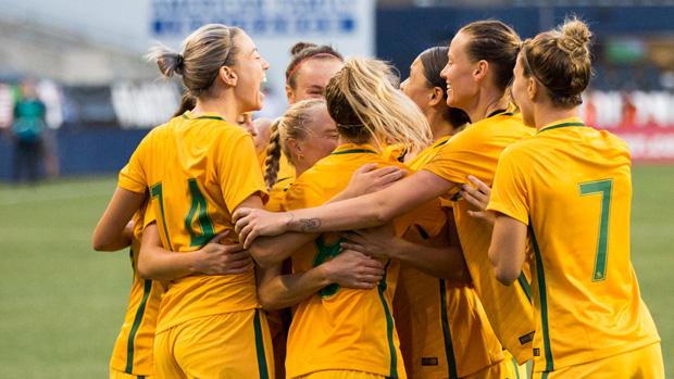 Westfield Matildas players celebrate Tameka Butt's goal in their 1-0 win over USA.