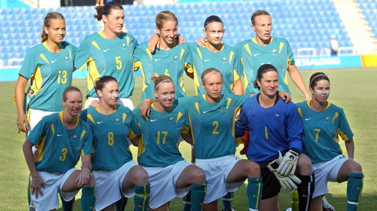The Westfield Matildas pose for a team photo at the 2004 Athens Olympics.