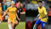 Australian youngster Ellie Carpenter and Brazilian superstar Neymar.