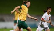 Emily van Egmond on the ball during the Matildas' 11-0 friendly win over Vietnam.