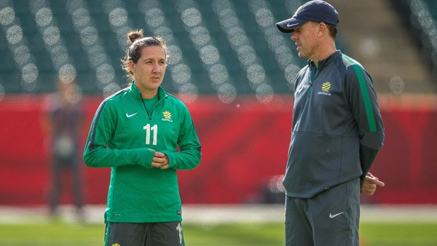 Westfield Matildas boss Alen Stajcic with Co-Captain Lisa De Vanna.