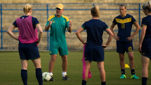 Coach Alen Stajcic gives some instructions to Australia's Women's Football Team in Brazil.