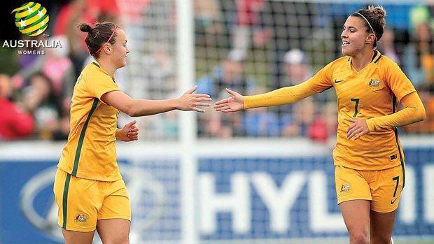 Westfield Matildas stars Caitlin Foord and Steph Catley.
