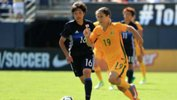 Westfield Matildas playmaker Katrina Gorry on the ball during the win over Japan at the Tournament of Nations.