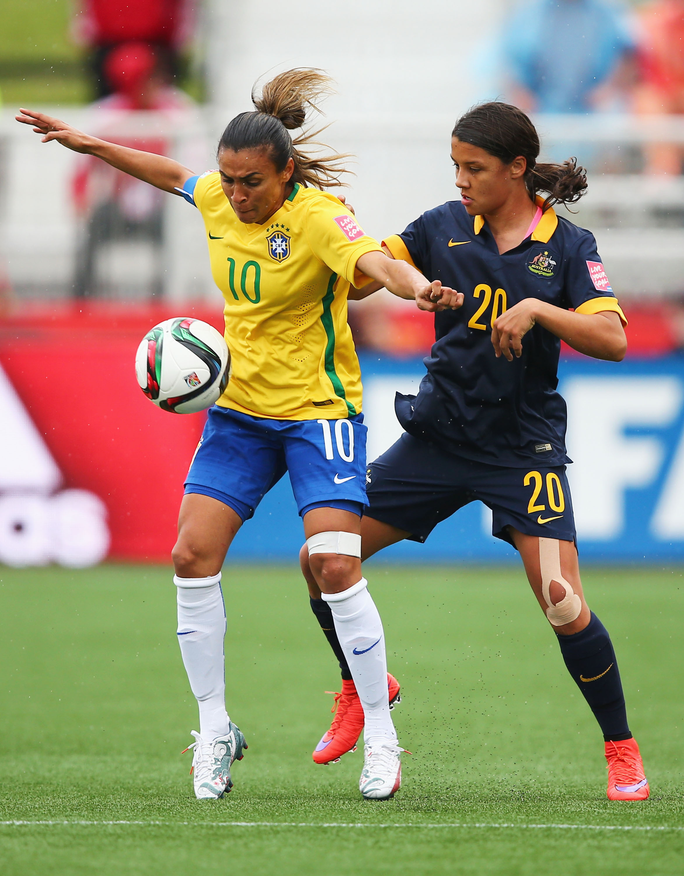 Sam Kerr shuts down Brazil's superstar Marta and was relentless with her run all game.