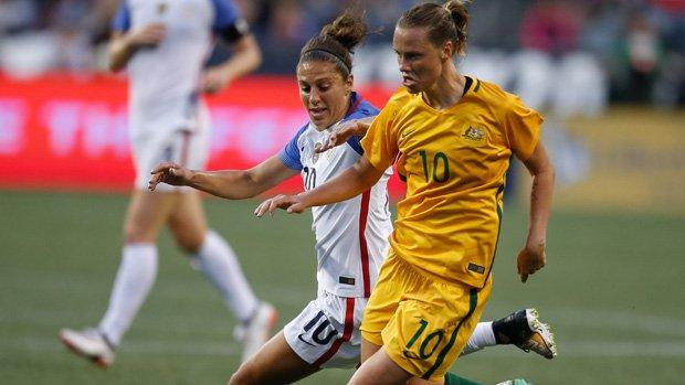 Westfield Matildas midfielder Emily van Egmond on the ball during Australia's win over USA.