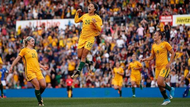 Sam Kerr celebrates a goal for the Westfield Matildas.