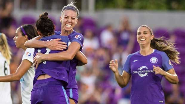 Alanna Kennedy celebrates a goal for Orlando Pride in the NWSL. Pic courtesy of Orlando Pride Twitter.