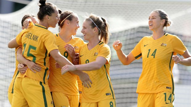 The Westfield Matildas celebrate one of Emily Gielnik's two goals against the Netherlands on Friday.