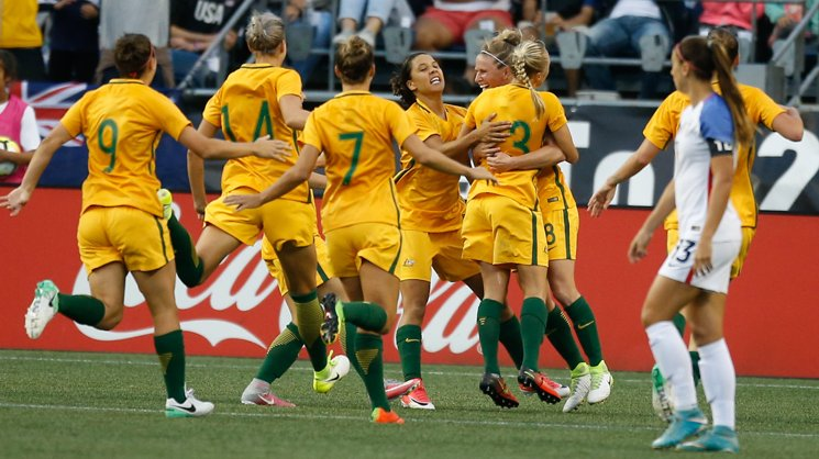 Westfield Matildas players celebrate Tameka Butt's goal in their win over the USA at the Tournament of Nations.