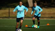 Midfielder Chloe Logarzo in training with the Westfield Matildas ahead of Brazil clash.