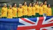 The Westfield Matildas starting XI sing the national anthem ahead of kick-off against China.