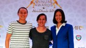 Australians Caitlin Foord, Lisa De Vanna, and China's Tan Ruyin.