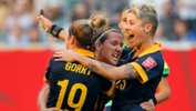 The Westfield Matildas celebrate Lisa de Vanna's equaliser against the USA at last year's FIFA Women's World Cup.