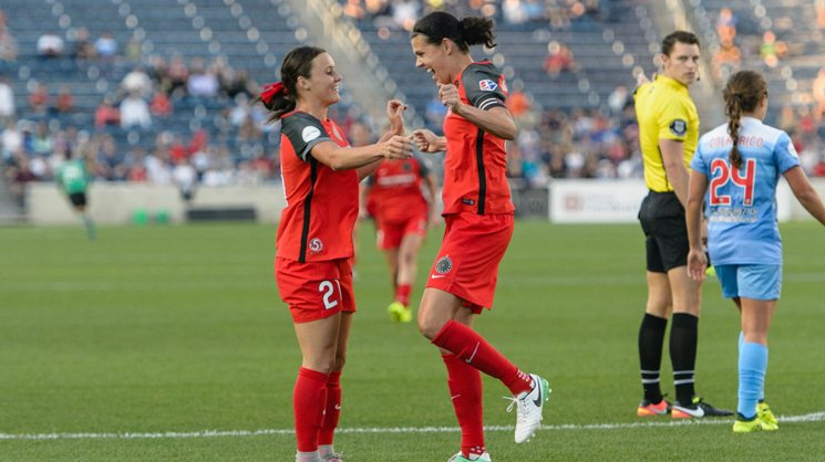 Hayley Raso scored two goals for Portland against Seattle over the weekend. Image: Portland Thorns.