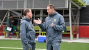 Matildas coach Alen Stajcic with Technical Director Ante Juric.