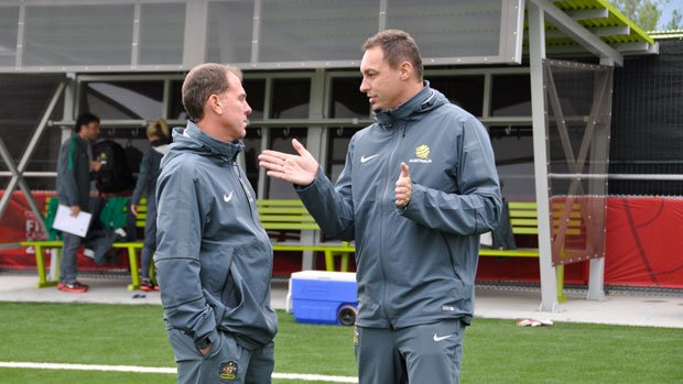 Matildas coach Alen Stajcic with Technical Director Ante Juric.