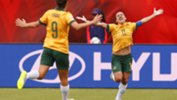 Co-captain Lisa De Vanna celebrates a goal at the World Cup.