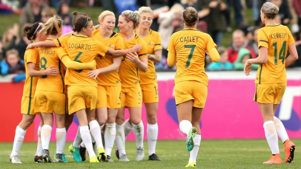 The Westfield Matildas celebrate scoring against New Zealand in a friendly last year.