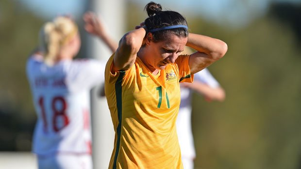 Westfield Matildas attacker Lisa De Vanna shows her disappointment in the loss to Denmark at the Algarve Cup.