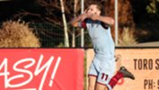 APIA Leichardt player Jordan Murray celebrating a goal.