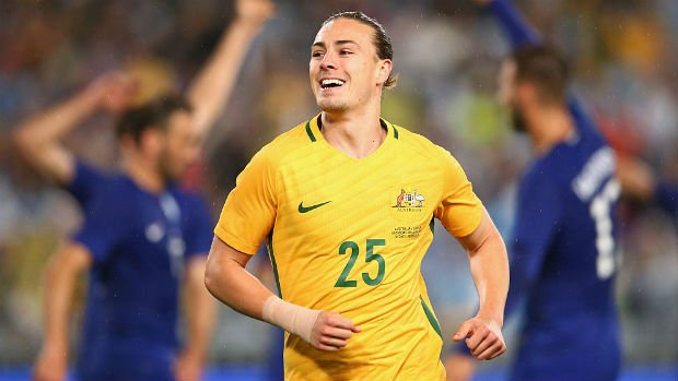 Jackson Irvine reacts to the Caltex Socceroos scoring against Greece in a 2016 friendly.