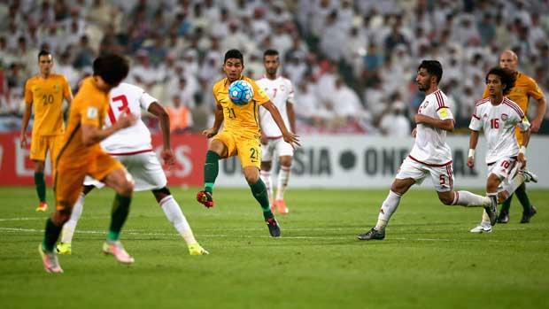 Caltex Socceroos midfielder Massimo Luongo against UAE.