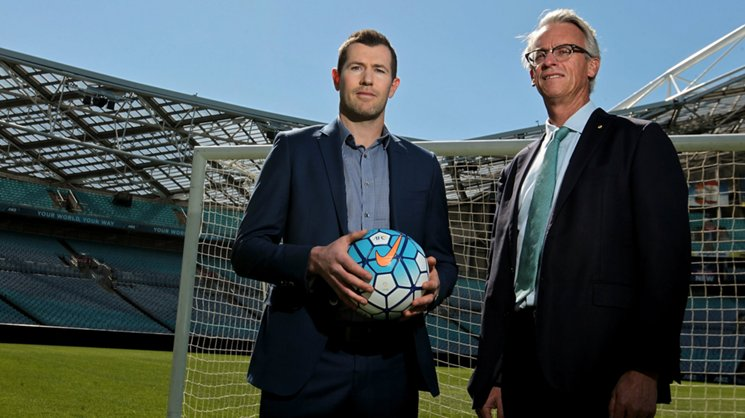 Former Caltex Socceroo Brett Emerton and FFA CEO David Gallop.