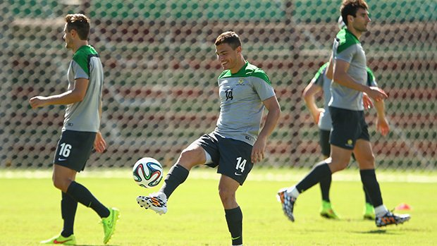 James Trosi at Socceroos training in Brazil for the World Cup.