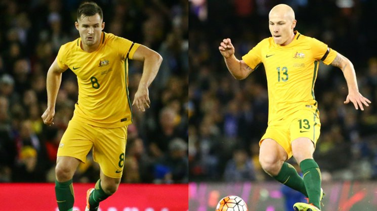 Caltex Socceroos Bailey Wright and Aaron Mooy.